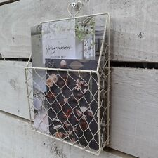 Small Wire Wall Storage Basket, Letter Rack, Rustic Country Style, Cream