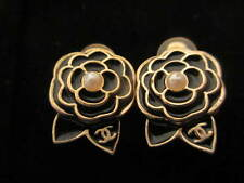 Authentic CHANEL Clip earrings (black camellia)