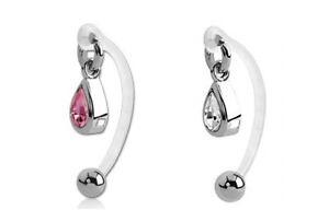 Bioflex Curved Bar + Tear Drop Crystal ~ Female Intimate Piercing, Christina VCH