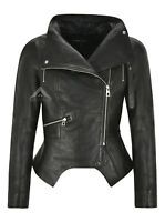 Jennifer Ladies Fashion Leather Jacket Black Cropped Notch Bottom Real Leather