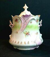 Antique Biscuit Jar Porcelain Ribbon Handled Moriage Gold Trim w/Lid C134