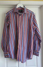 """CHARLES TYRWHITT BLUE AND MAROON LONG SLEEVED SHIRT LARGE- 42-44"""" OR 16-16 1/2"""
