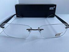 New MONTBLANC MB 337 012 57mm Rimless Black Men's Eyeglasses Frame Italy #1