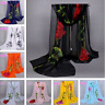 Hot New Women's Long Rose Flower Print Chiffon Scarf Soft Wrap Lady Shawl Silk