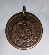 1845 United States Usa One Cent Coin Large Pendant