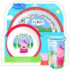 Peppa Pig Tumbler Bowl & Plate Dinner Set Peppa and George 100% Official