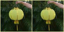 2 Medium SIZE Chinese Lanterns - 2 pack Yellow Nylon/CHINESE Fortune Decorations