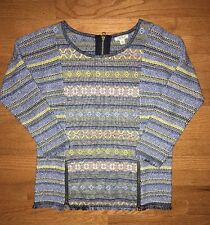 Women's Luck Brand Sweater With Frayed Hem And Zippers Size Small