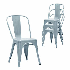 Tolix Metal Dining Chairs Set of 4 Industrial Vintage Stackable Kitchen Chair