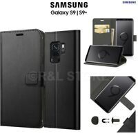 COVER per SAMSUNG S9 / S9 PLUS CUSTODIA PORTAFOGLIO in PELLE Nero Leather CASE