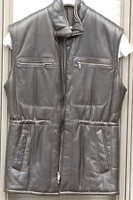 Marc Sorel sleeveless solid dark brown winter leather jacket, Italian 50, M