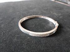 bracelet en argent massif, 3 rangées de zirconiums