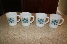 4 FIRE KING SWISS CHALET MUGS COFFEE CUPS BLUE FLOWERS GREEN LEAVES VINTAGE
