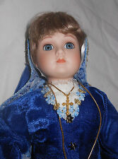 Queen Anne Porcelain Doll 18 in. Velvet Blue Dress Bretagne France Gold Cross