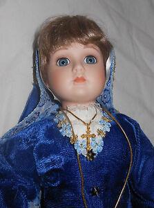 Queen Anne Porcelain Doll 18 inch Velvet Blue Dress Bretagne France Gold Cross