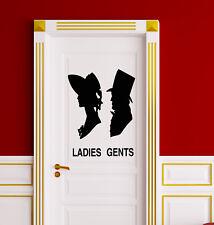 Vinyl Wall Decal WC Toilet Door Decoration Bathroom Ladies Gents Stickers 2194ig