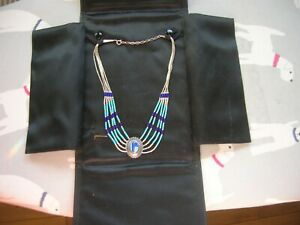 Ladies silver, turquoise and lapis lazuli necklace