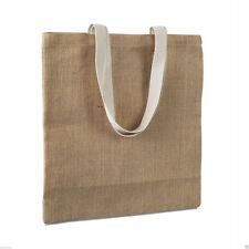 Eco friendly jute shopping bag - cotton handles BROWN natural materials Reusable