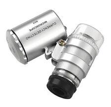 60X Pocket Jewellers Loupe Microscope Glass Jewellery Magnifier LED / UV Light~