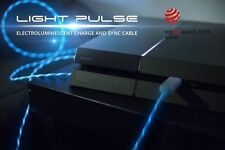 Pilot LIGHT PULSE Micro USB Charger Sync Cable Cord BLUE GLOWS NEW 3ft long