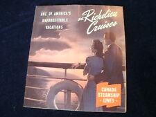 Vintage 1941 Canada Steamship Lines SS Richelieu Cruise Brochure Deck Plans R259