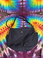 Women's Vintage 90's L.L. Bean Black Nylon Shoulder Bag With Leather Straps
