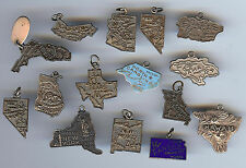 VINTAGE STERLING SILVER USA STATES (CALIFORNIA NEW YORK ETC) MIXED LOT CHARMS