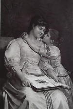 MOTHER Teaching Daughter Home Schooling Pretty Book - 1888 Antique Print