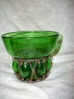 ITALIAN MURANO BLOWN CAGED GLASS VASE CANDLE HOLDER GREEN VINTAGE MID CENTURY