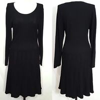 THAKOON Dress Size L Women's Long Sleeve Design Nation Black KNIT Career SWEATER