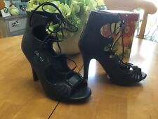 NEW Lane Bryant Black Lace Up Sexy  Heels Sandals 8 W  BEST OFFER