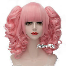 Lolita Light Pink Short 3CM Curly Fashion Women Cosplay Wig + Ponytails