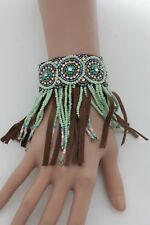 Women Bohemian Ethnic Bracelet Brown Faux Leather Fashion Jewelry Beads Fringes