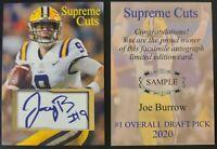 Joe Burrow LSU Tigers Supreme Cuts Limited Edition Sample Card. #1 Draft 2020