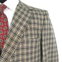 JC Penney Vtg Blazer Sz 42R Brown Check All Season 70s Hip Mod Sport Coat 42 R