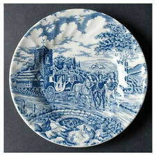 """Churchill Royal Mail Blue 6 5/8"""" Bread Plate Wessex Stage Coach England"""