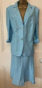 Pretty Pale Blue Basler Linen Mix Suit, Size 18