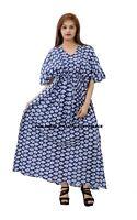 Anokhi Long kaftan - Indigo Blue - 100% cotton - one size Caftan Dresses Indian