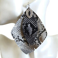 Stylish Fashion Womens Gray Snake Printed PU Big Rhombus Dangle Drop Earrings