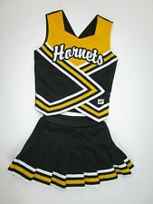 "NEW HORNETS Child Cheerleader Uniform Outfit Costume 28"" Top Elastic Waist Black"