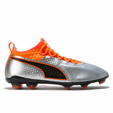 PUMA One 2 Leather Firm Ground Football Boots Shoes Silver Mens