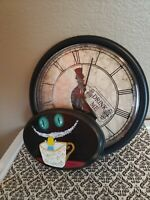 Alice In Wonderland Clock And Original Cheshire Cat Painting On Wood Plaque