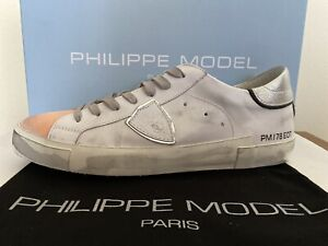 PHILIPPE MODEL Sneakers Uomo Prsx Veau Blanc-Orange_Tg. 42 - NUOVE/NEW