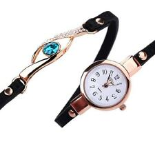 Women Diamond Wrap Around Leatheroid Analog Quartz Bracelet Wrist Watch Black