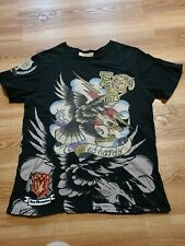 Mens ED HARDY State Champions Eagle Embellished Embroiderd Shirt Sz L XL