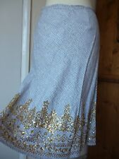 Mint,Grey&White stripe Linen Midi Skirt,Gold sequin detail,BNWT,Wedding,Party,