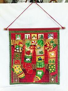 Hanging Christmas Countdown Advent Calendar Fabric Cloth Pockets Embellished