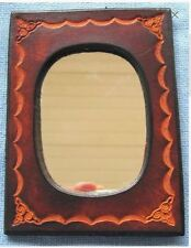 Hand Crafted Leather Mirror Hand Tooled And Dyed Will Last A Lifetime Free Ship