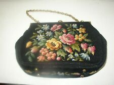 1940-50s, 12in x 9in x 3.5in, Handmade Floral Petit Point Tapestry Purse-Handbag