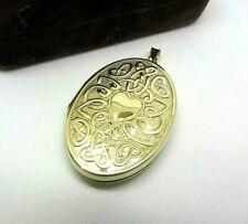 9ct Yellow Gold Hallmarked Locket Love Heart Celtic Knot Design Engraved 6g